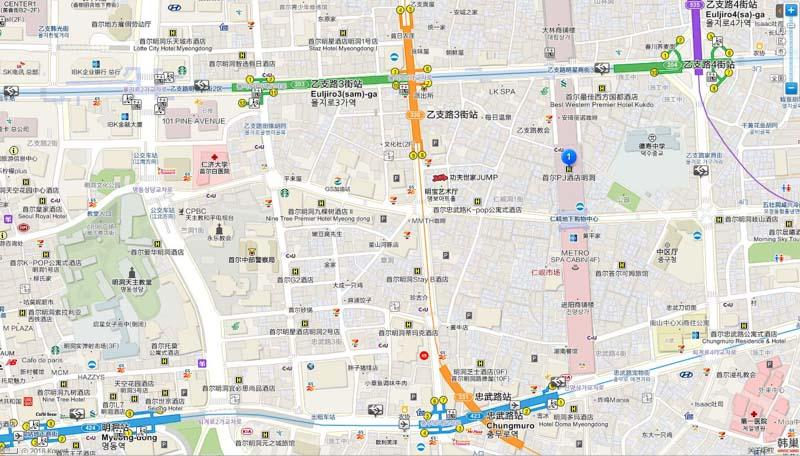 明洞PJ飯店地圖交通路線