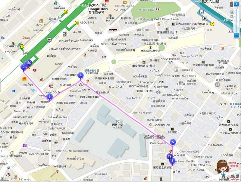弘大米米便當食堂地圖交通路線