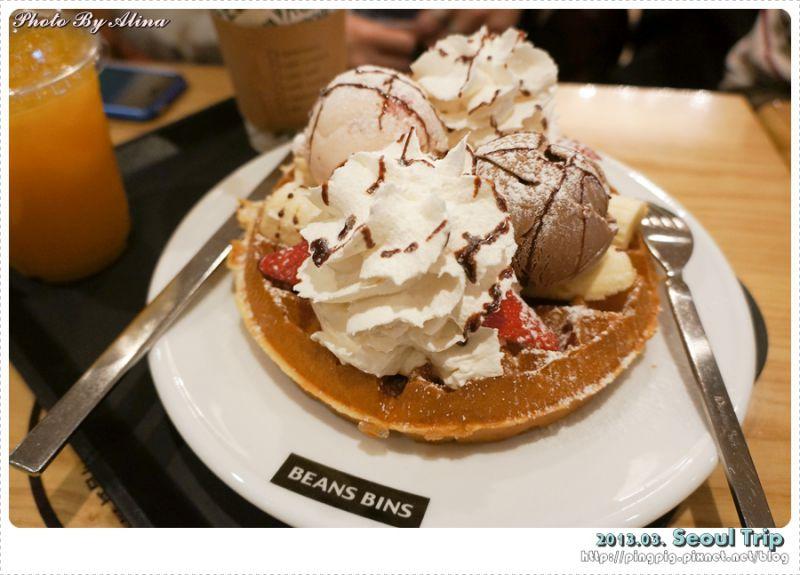 【首爾美食】韓國首爾自由行-明洞站 BEANSBINS COFFEE 超鬆軟的冰淇淋鬆餅 @Alina 愛琳娜 嗑美食瘋旅遊