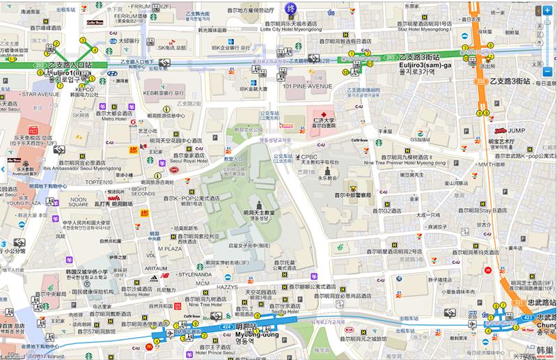 明洞樂天城市飯店 地圖交通路線