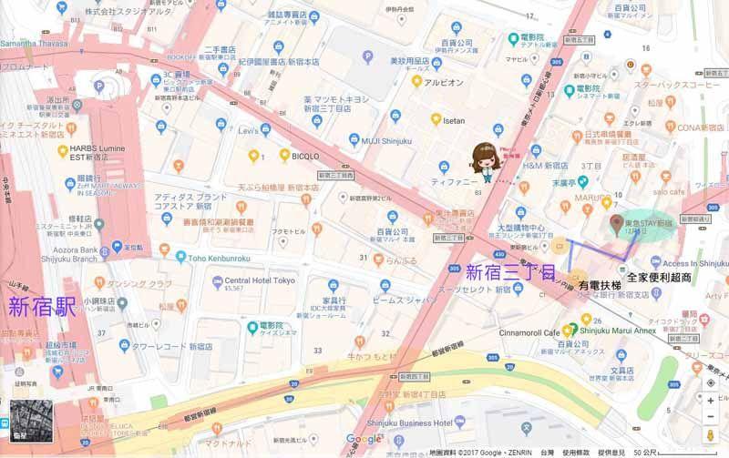 東京 新宿東急飯店 Tokyu Stay Shinjuku 地圖交通路線