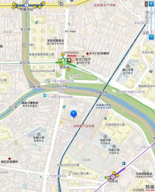 馬場洞 畜產品市場 地圖交通路線
