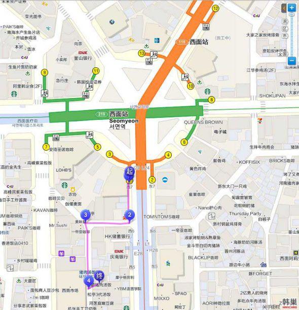 浦項豬肉湯飯交通地圖