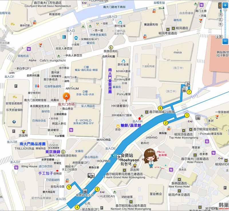 南大門市場地圖交通路線