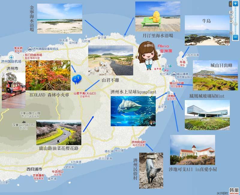 濟州島景點推薦 東部地圖