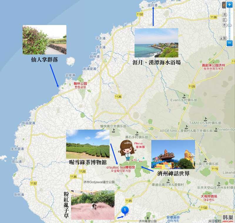 濟州島景點推薦 西部地圖
