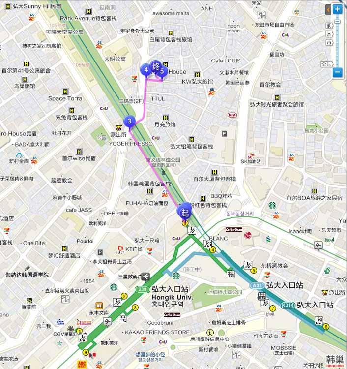 首爾弘大咖啡館 sarr 地圖交通路線