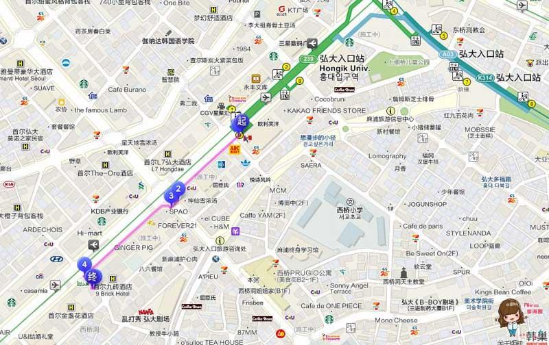 橋村炸雞弘大店 中文地圖交通路線