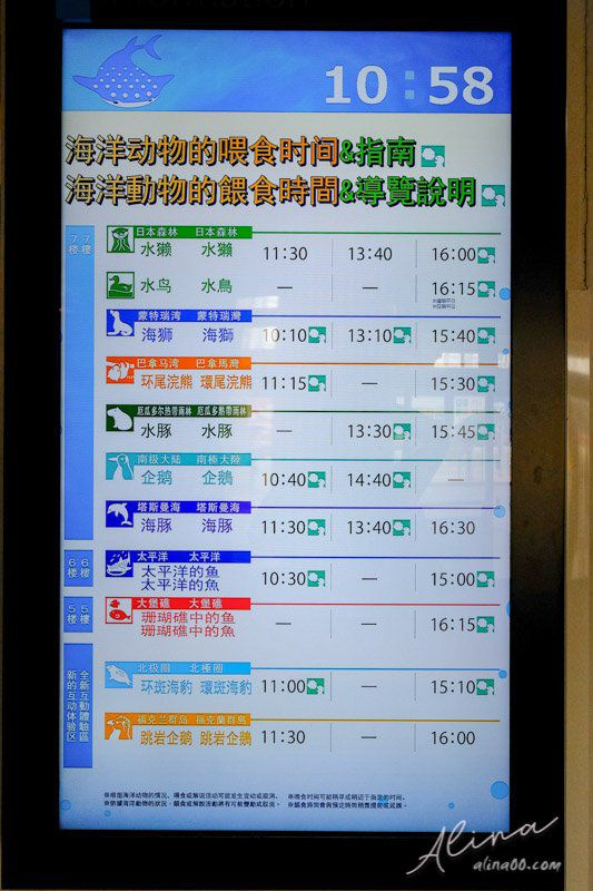 大阪海遊館 餵食秀表演時間表