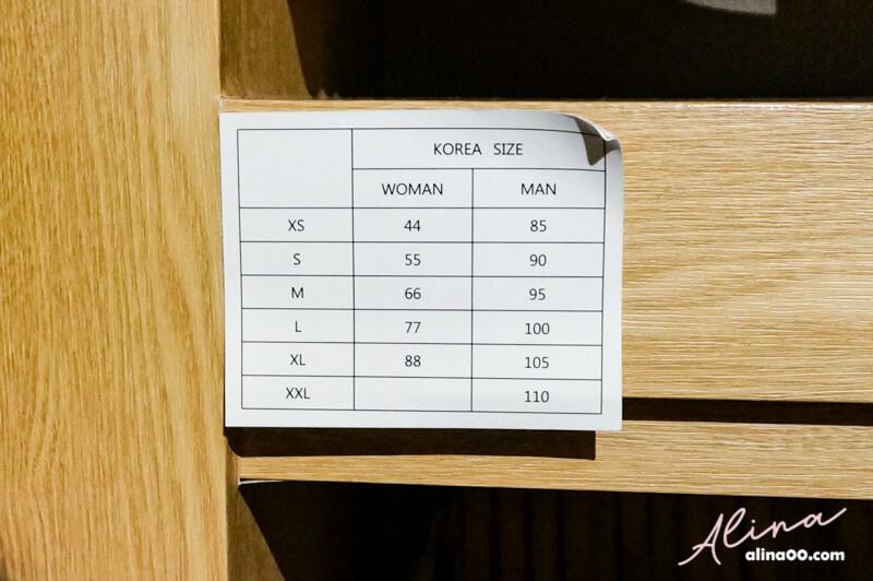 韓國衣服尺寸對應表