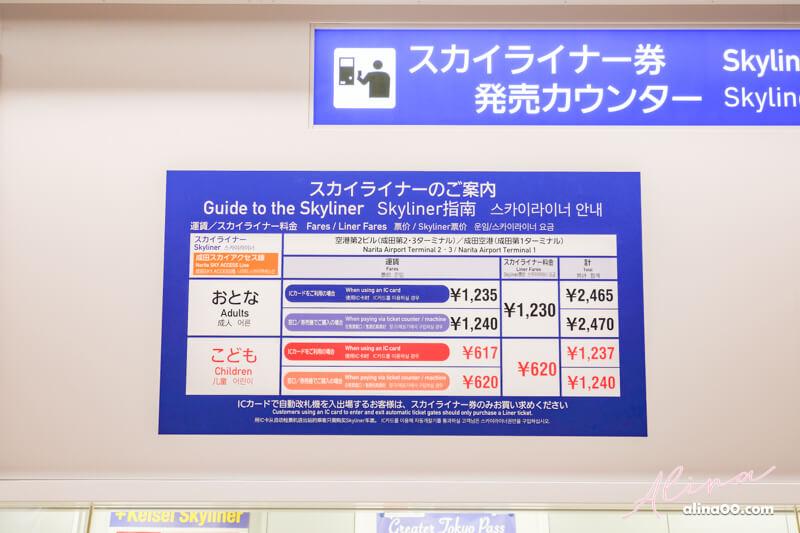 SKYLINER 京成電鐵 車票價格
