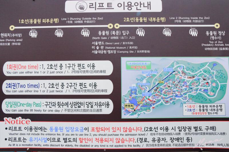首爾大公園纜車車票