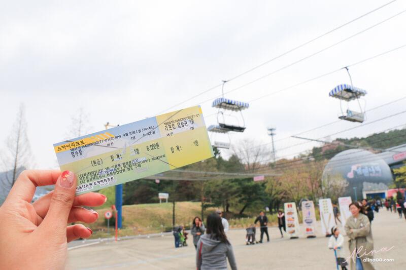 首爾大公園天空纜車門票