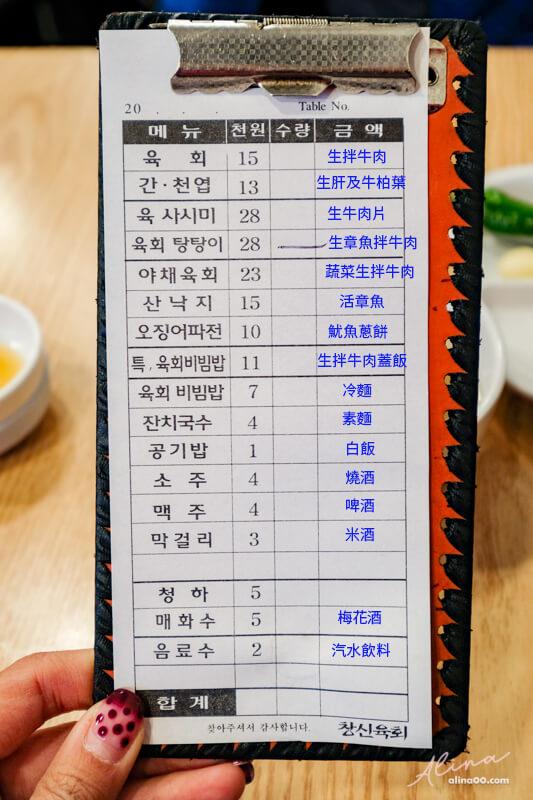 昌信生拌牛肉中文菜單