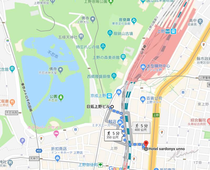 東京上野寶石飯店交通