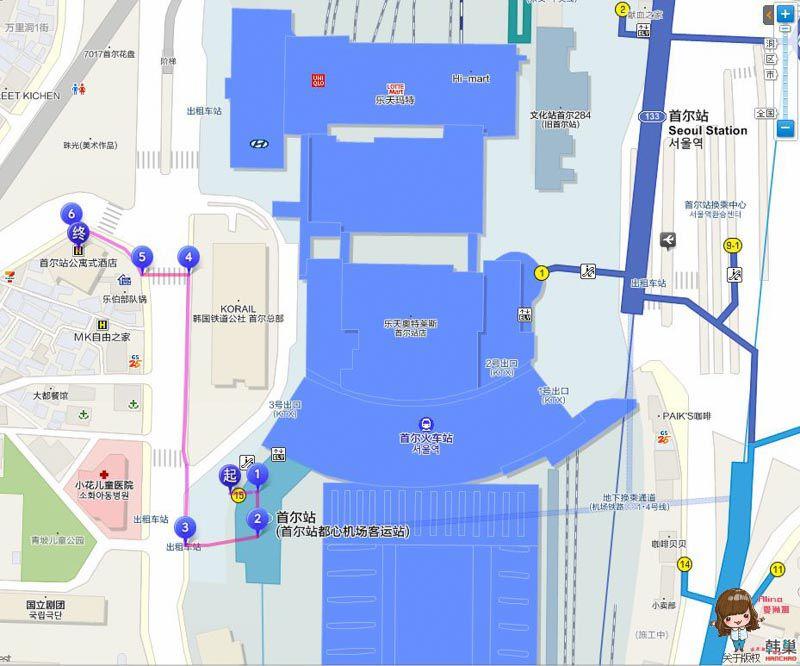 S.A. Seoul 公寓式酒店地圖交通